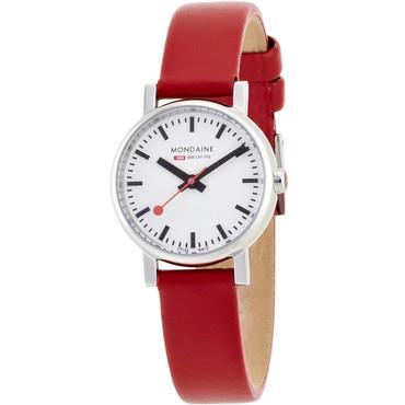 Mondaine Evo Petite Ladies Watch Red Leather Strap