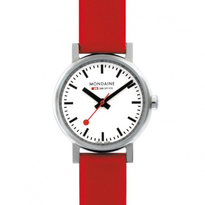 Mondaine Evo Petite Ladies Red Strap Small Size Watch A658.30301.11SBC