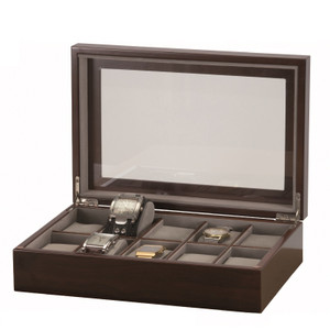 Mele And Co Watch Box For 10 Watches Dark Grain Finish Grey Interior 451