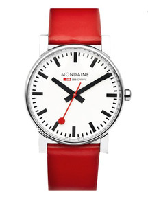 Mondaine Evo Gents Red Leather Strap Watch A660.30344.11SBC