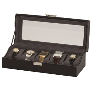 Mele And Co Watch Box For 5 Watches Black Leather Silver Clasp Jacob 1552
