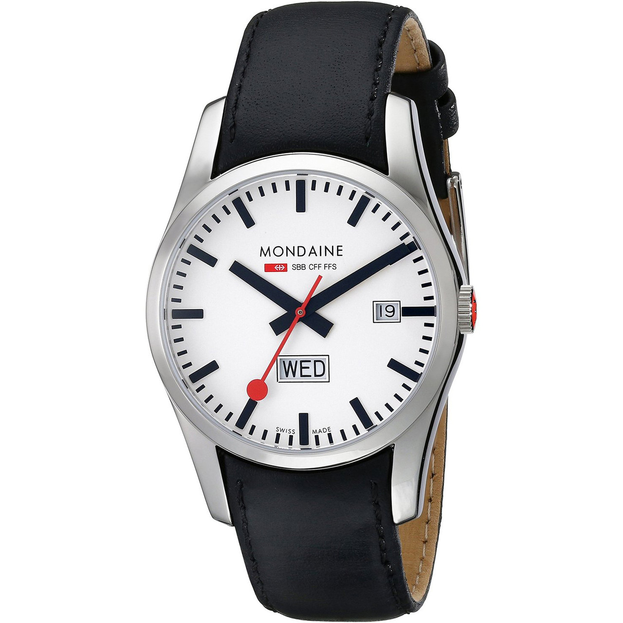Mondaine Retro Gents Leather Strap Watch With Day And Date A6673034011SBB