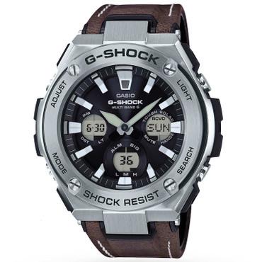 G-Shock Steel Solar Radio Controlled Brown Leather Strap Watch GST-W130L-1AER