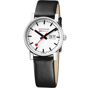Mondaine Ladies Leather Strap Watch With Big Date Display 30 mm Case A669.30305.11SBB