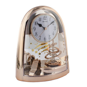 Rhythm Arch Pendulum Mantel Clock In Rose Gold Finish 4SG607WB13