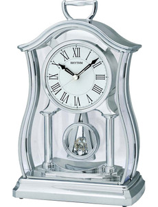 Rhythm Mantel Clock with Glass Inset Pendulum Silver Finish CRP611WR19