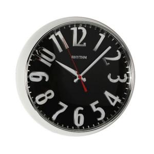 Rhythm Round Wall Clock 3D Numbers Silver Case CMG777NR19