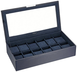 Wolf Stackable Watchbox For Up To 12 Watches In Blue 309817