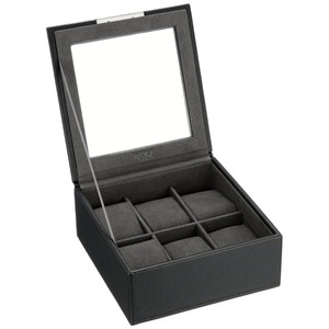 Wolf Stackable Watchbox For Up To 6 Watches In Black 309603
