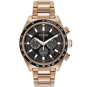 Citizen Eco-Drive Men's Rose Gold Sport Chronograph Black Dial Watch CA4203-54E