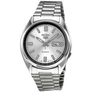 Seiko 5 Men's Automatic Silver Dial Stainless Steel Watch SNXS73