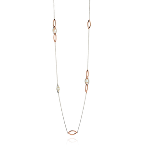 Fiorelli Ladies Silver Rose Gold & White Pearl Chain Necklace