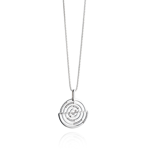 Fiorelli Ladies Silver Cut Out Pave Disc Pendant