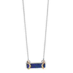 Fiorelli Ladies Silver Lapis Inlay Drop Pendant Necklace