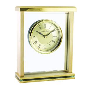 London Brushed Gold Finish Flat Top Mantel Clock 3123