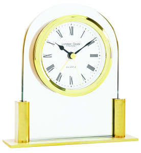 London Glass Arch Top Mantel Clock Finish Gold  17124