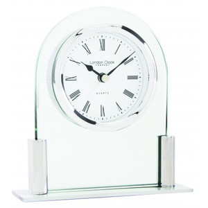 London Clock Glass And Brushed And Polished Metal Domed Designer Mantel Clock 17125