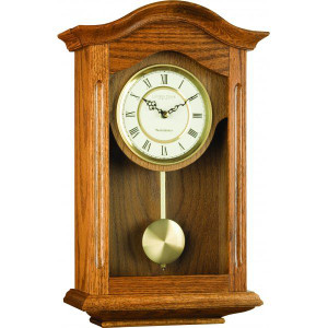 London Clock Oak Finish Pendulum Designer Wall Clock 25058
