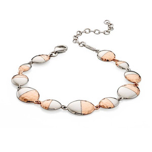 Fiorelli Ladies Two Tone Hammered Oval Sterling Silver Bracelet