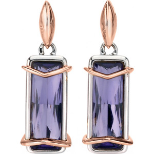 Fiorelli Ladies Silver Rose Plate Purple Crystal Earrings