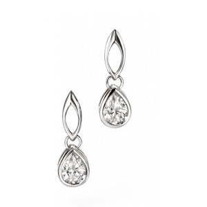 Fiorelli Ladies Silver Cubic Zirconia Teardrop Earrings