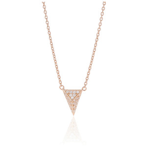 Sif Jakobs Necklace Pecetto Piccolo Rose Gold Plated With White Zirconia