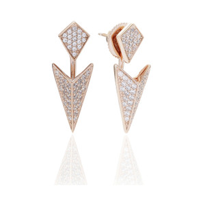 Sif Jakobs Ear Jackets Pecetto Rose Gold Plated With White Zirconia