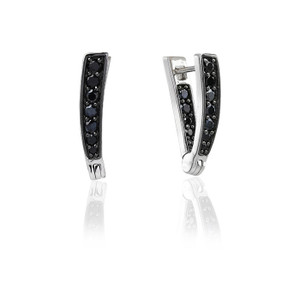 Sif Jakobs Earrings Pila Due With Black Zirconia