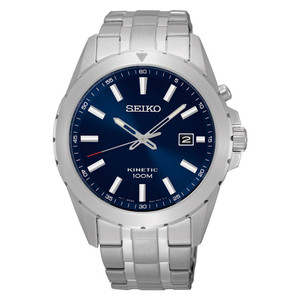 Seiko Kinetic Date Display Stainless Steel Blue Dial Watch SKA695P1