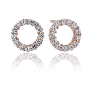 Sif Jakobs Earrings Biella Uno Piccolo Rose Gold Plated With White Zirconia