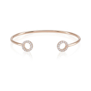 Sif Jakobs Bangle Biella 18K Rose Gold Plated with White Zirconia
