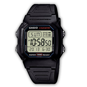 Casio Digital Sports  Dual Time Watch W-800H-1AVES Black