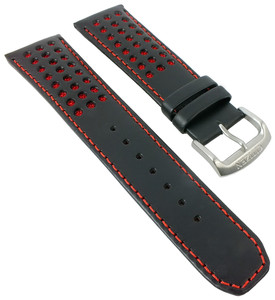 Citizen Replacement Watch Strap Black Leather With Red Accents 59-S52683 For AT8060-09E With Pins