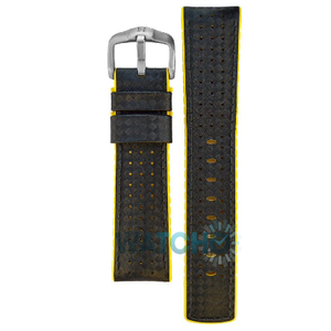 Hirsch Ayrton Replacement Watch Strap Black And Yellow Leather 24mm With Free Connecting Pins