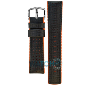 Hirsch Ayrton Replacement Watch Strap Black And Orange Leather 24mm With Free Connecting Pins
