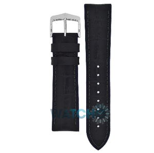 Hirsch Andy Performance Replacement Watch Strap Black And Blue Leather 24mm With Free Connecting Pins
