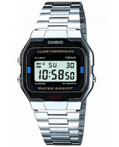 Casio Silver Vintage Chrono Alarm Watch A163WA-1QES