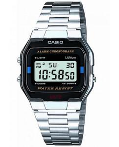 Casio Silver Vintage Chrono Alarm Watch A163WA-1QES