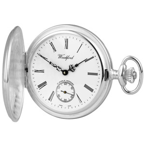 Woodford Sterling Silver Full Hunter Swiss Pocket Watch With Free Sterling Silver Chain 1001