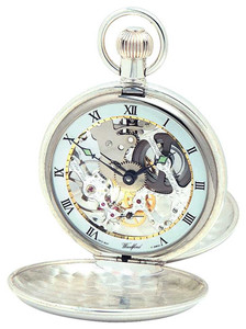 Woodford Sterling Silver Twin Lid Skeleton Swiss Pocket Watch 1002