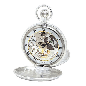 Woodford Sterling Silver Twin Lid Skeleton Swiss Pocket Watch With Free Sterling Silver Chain 1002