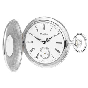 Woodford Sterling Silver Half Hunter Swiss Pocket Watch 1005