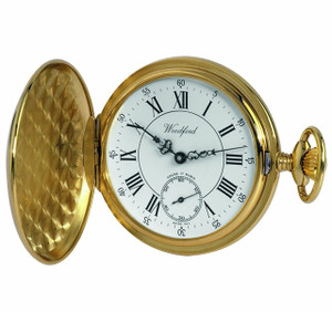 Woodford Swiss-Made Deep Gold Plated Full Hunter Pocket Watch 1009