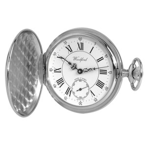 Woodford Chrome Finished full Hunter Swiss Pocket Watch 1012