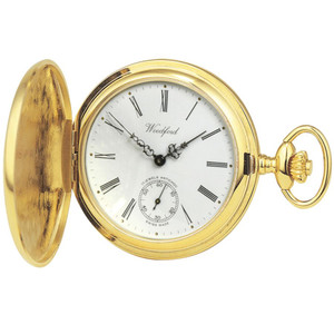 Woodford Gold Plated Full Hunter Swiss 17 Jewel Pocket Watch 1016