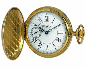 Woodford Gold Plated Full Hunter Engine Turned Swiss Pocket Watch 1057