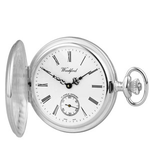 Woodford Sterling Silver Polished Full Hunter Swiss Pocket Watch 1064