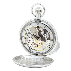 Woodford Sterling Silver Skeleton Twin-Lidded Swiss Pocket Watch 1065