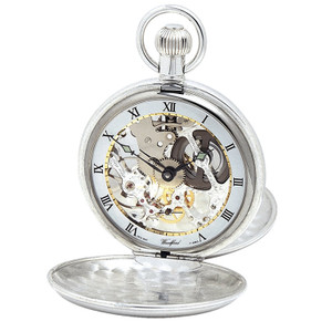 Woodford Sterling Silver Skeleton Twin-Lidded Swiss Pocket Watch With Free Sterling Silver Chain 1066