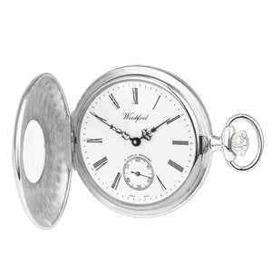 Woodford Sterling Silver Polished Half Hunter Swiss Pocket Watch 1067